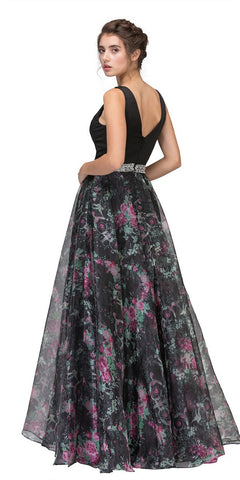 Black Floor Length Floral Printed Prom Gown V-Neck Embellished Waist Back View