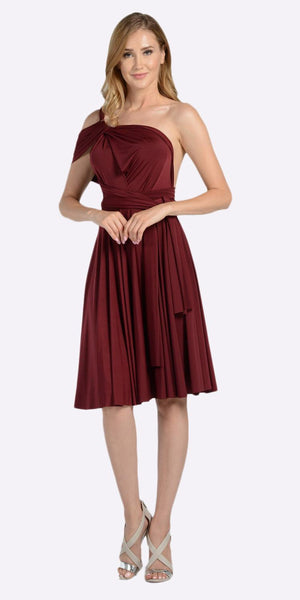 Poly USA 7020 Short Convertible Jersey Dress Burgundy 20 Different Looks