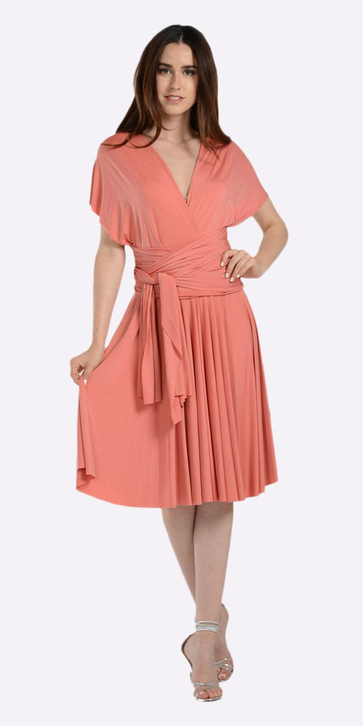 Poly USA 7020 Short Convertible Jersey Dress Coral 20 Different Looks