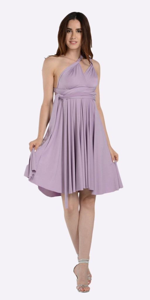 Poly USA 7020 Short Convertible Jersey Dress Lavender 20 Different Looks