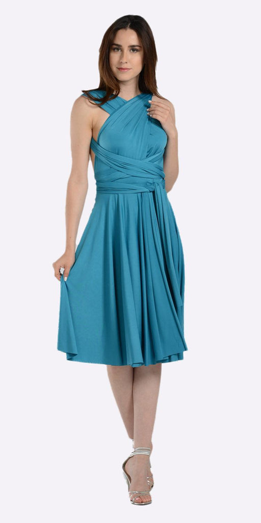 Poly USA 7020 Short Convertible Jersey Dress Teal 20 Different Looks