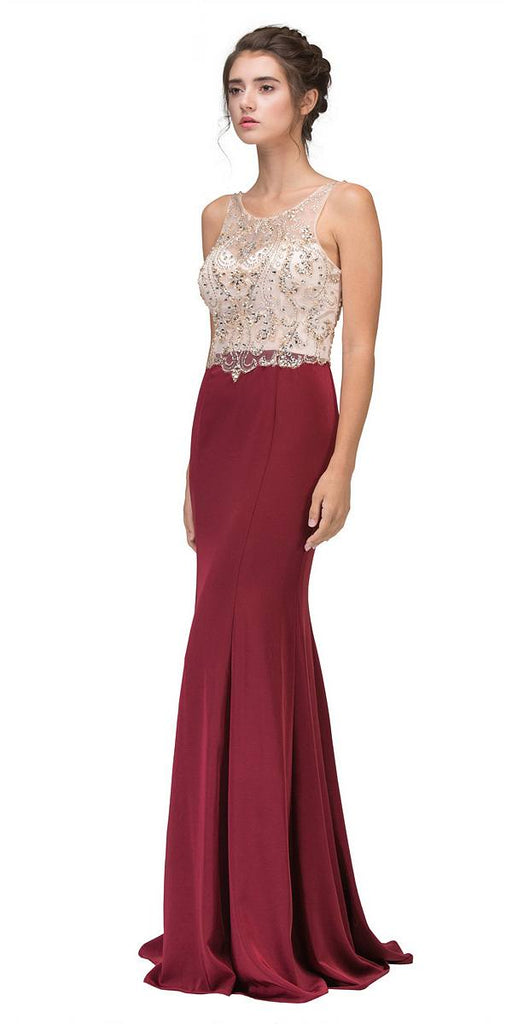 Burgundy Mermaid Long Prom Dress Illusion Beaded Top