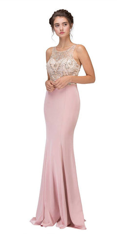 Blush Mermaid Long Prom Dress Illusion Beaded Top