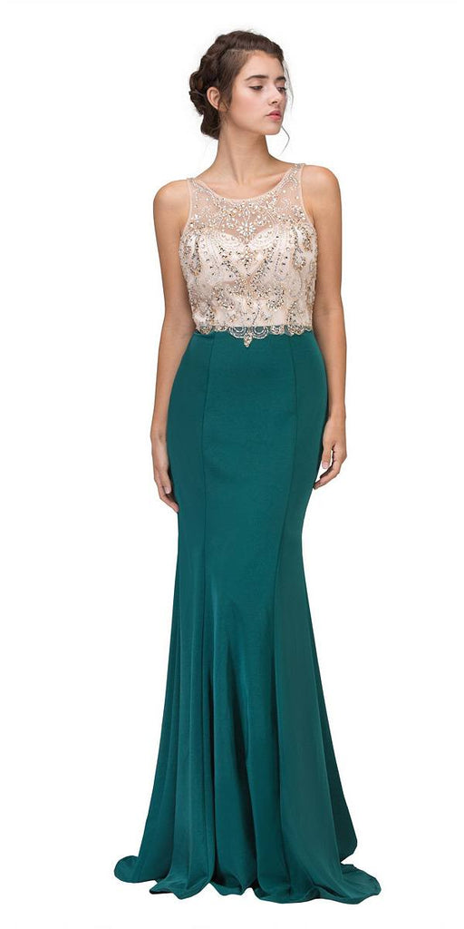 Hunter Green Mermaid Long Prom Dress Illusion Beaded Top