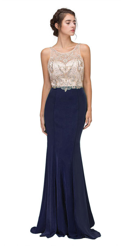 Navy Blue Mermaid Long Prom Dress Illusion Beaded Top