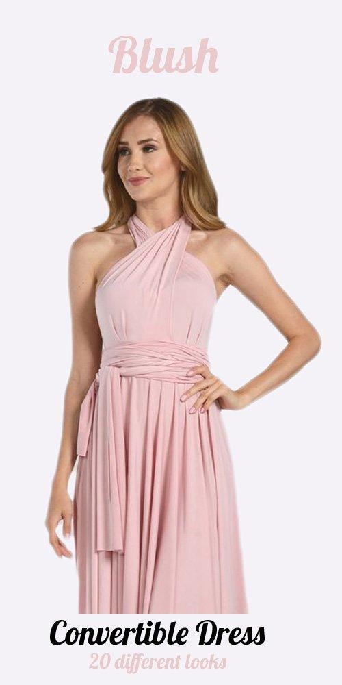 Poly USA 7022 - Long Blush Convertible Jersey Dress 20 Different Looks