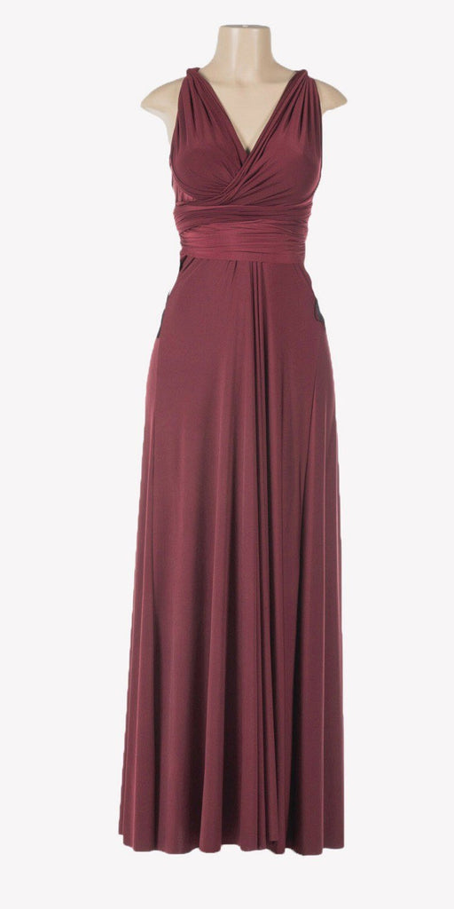 Poly USA 7022 - Long Burgundy Convertible Jersey Dress 20 Different Looks