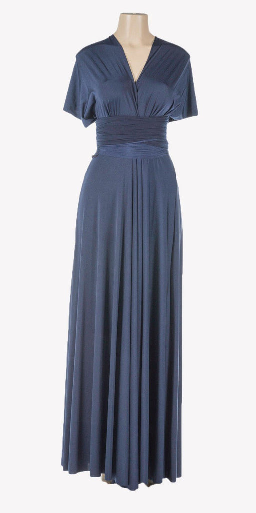 Poly USA 7022 - Long Navy Blue Convertible Jersey Dress 20 Different Looks