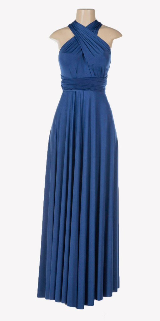 Poly USA 7022 - Long Royal Blue Convertible Jersey Dress 20 Different Looks