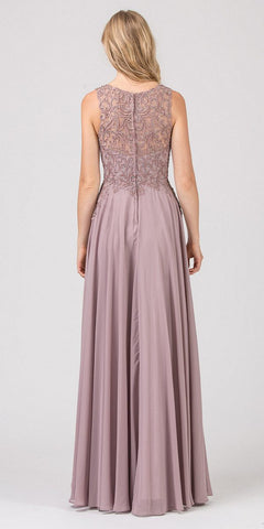 Embellished Bodice Long Formal Dress Mocha