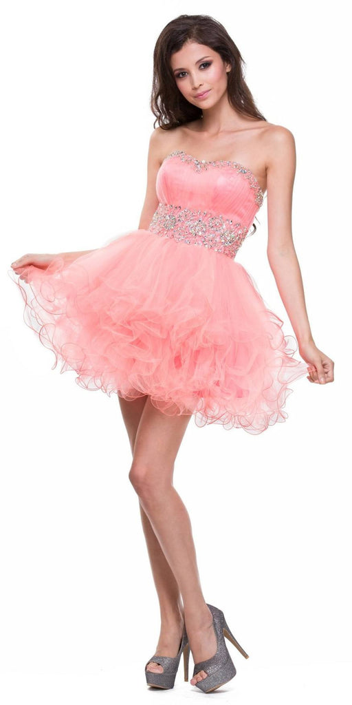Strapless Sweetheart Coral Formal Dress Short Sequin Neckline Poofy
