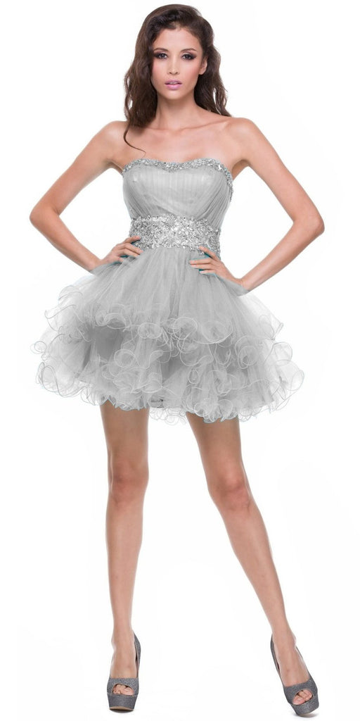 Strapless Sweetheart Silver Formal Dress Short Sequin Neckline Poofy