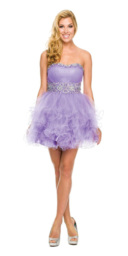 Strapless Sweetheart Lilac Formal Dress Short Sequin Neckline Poofy