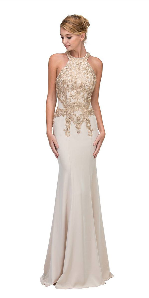 Beige Embroidered Mermaid Long Prom Dress Racer Back