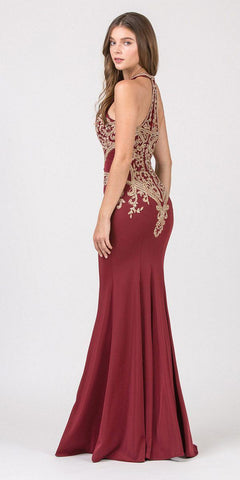 Eureka Fashion 7033 Burgundy Embroidered Mermaid Long Prom Dress Racer Back