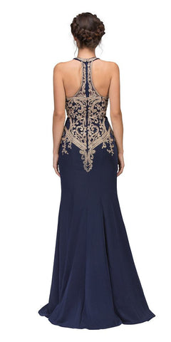 Navy Blue Embroidered Mermaid Long Prom Dress Racer Back