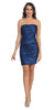 Navy Blue Short Cocktail Dress Strapless Tight Form Fit Ruched