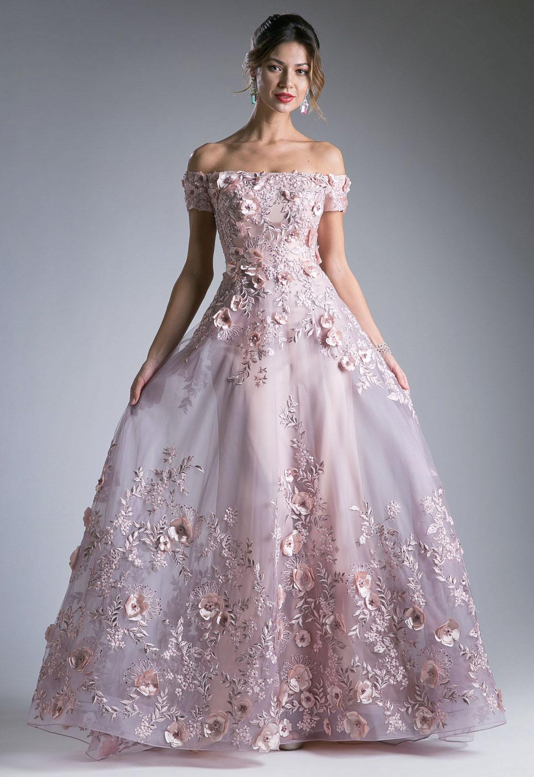 Dusty Rose Off The Shoulder Long Prom Dress With Appliques