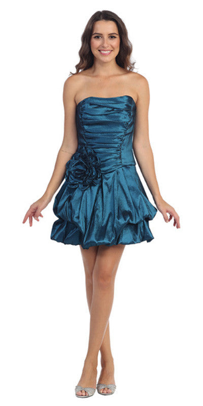 Short Teal Evening Cocktail Gown Bubble Strapless Stretch Taffeta