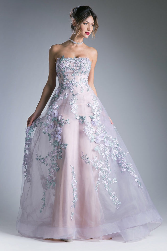 Andrea & Leo 7055 Long Strapless Floral Embroidered A-Line Lilac Gown