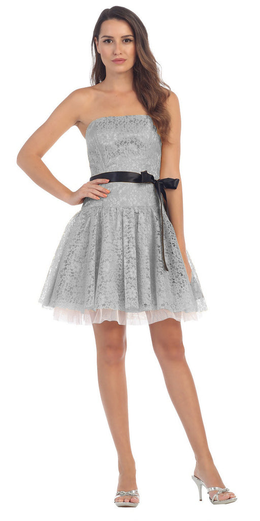 Poofy Short Lace Silver Semi Formal Dress Ribbon Belt Strapless