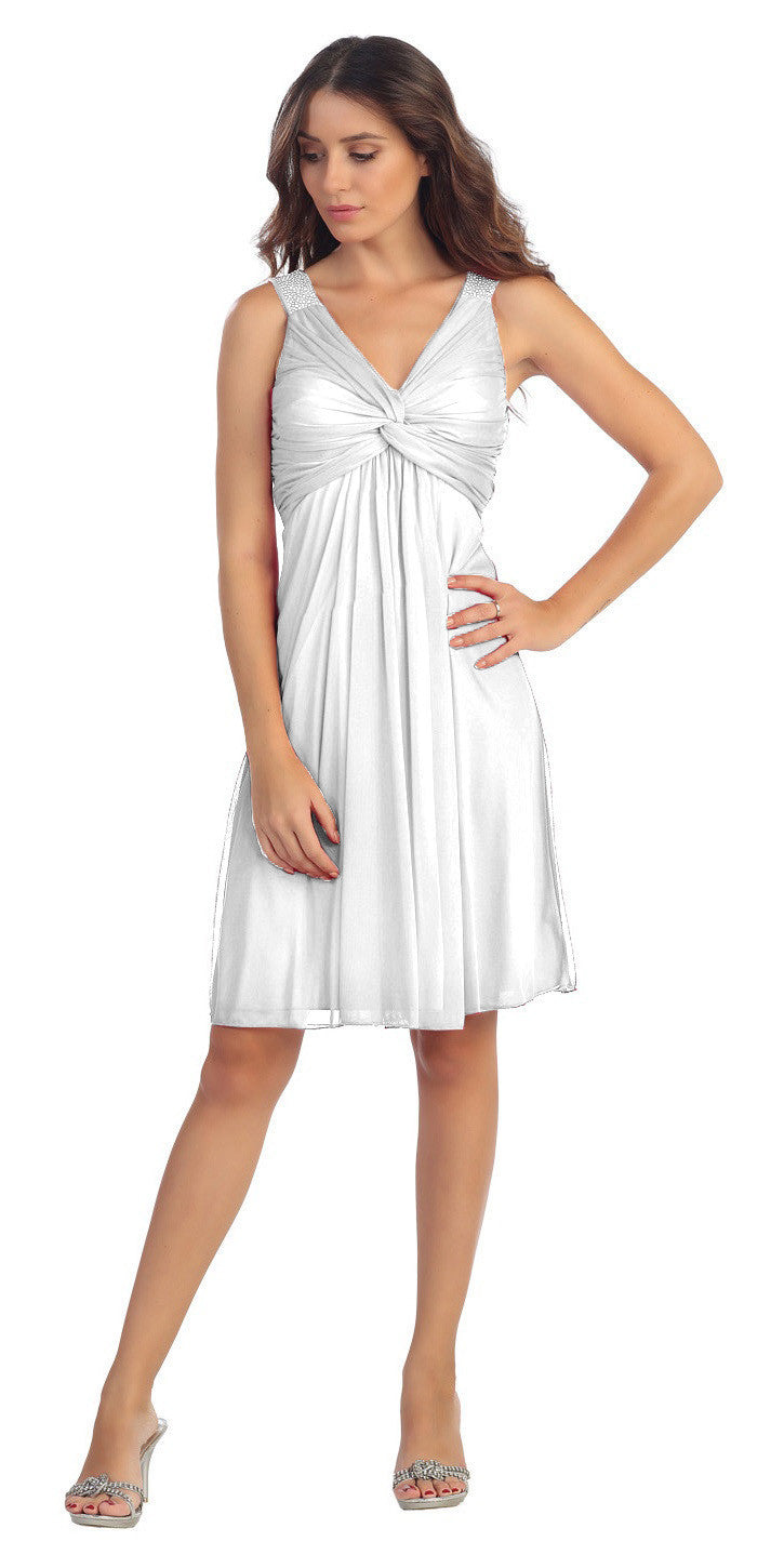 Knee Length Chiffon Bridesmaid Dress Ivory Empire Thick Strap