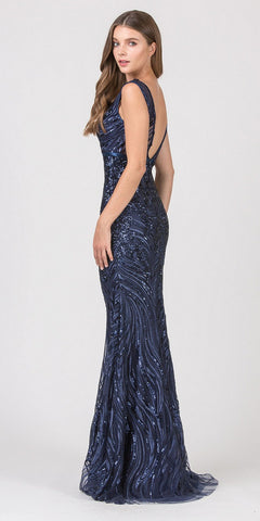 Navy Blue V-Neck Long Sequins Prom Dress