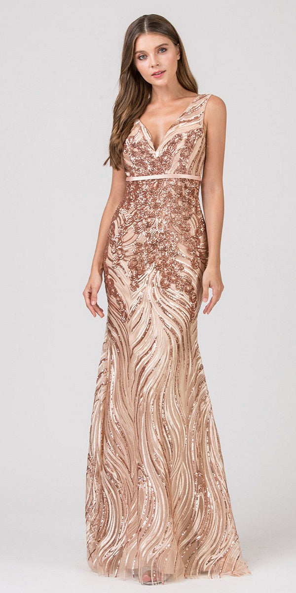 828ae3838538 Eureka Fashion 7070 Rose Gold V-Neck Long Sequins Prom Dress ...