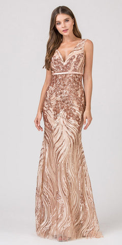 Rose Gold V-Neck Long Sequins Prom Dress