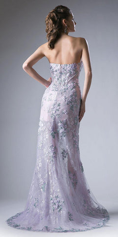 Embroidered High and Low Prom Gown Strapless Lilac