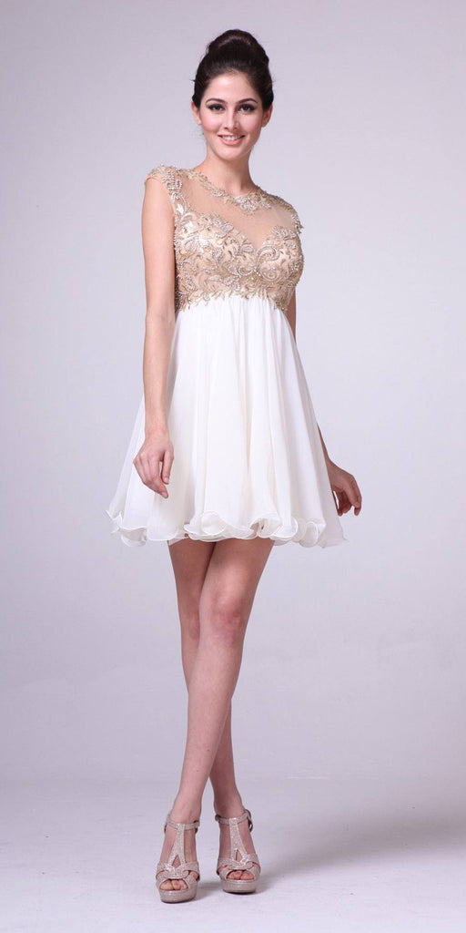 Cinderella Divine 71 Illusion Cap Sleeves Empire Waist Cream Short Dress