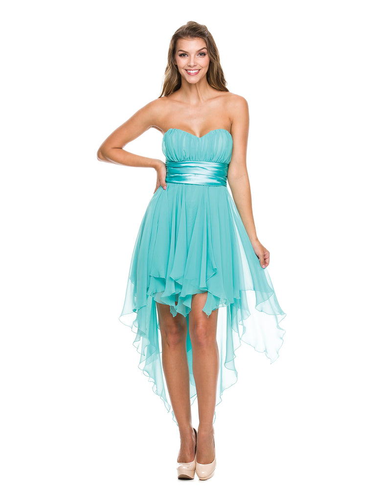 High Low Chiffon Jade Bridesmaid Dress Strapless Layered Skirt