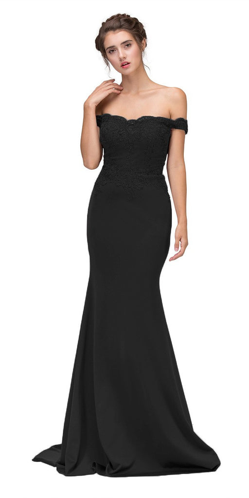 Eureka Fashion 7100 Lace Appliqued Bodice Long Formal Dress Off-Shoulder Black