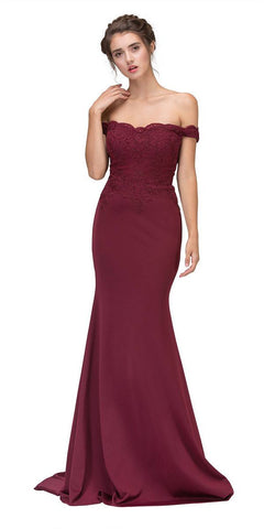 Lace Appliqued Bodice Long Formal Dress Off-Shoulder Burgundy