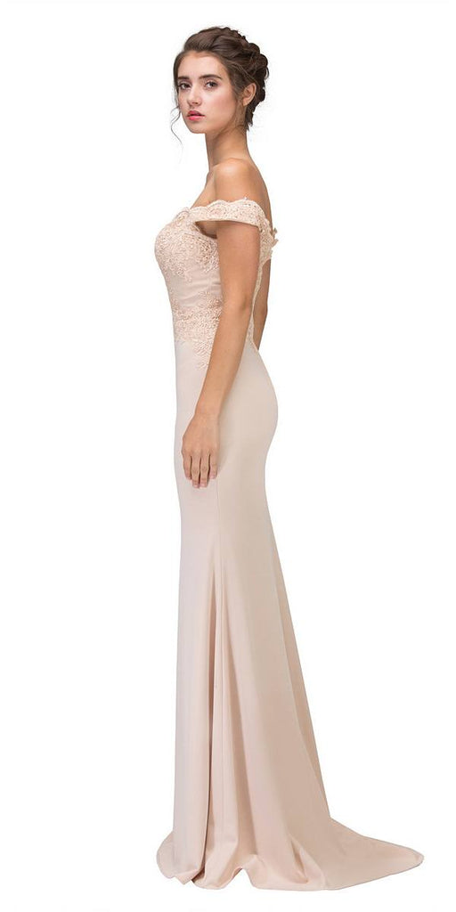 Lace Appliqued Bodice Long Formal Dress Off-Shoulder Champagne