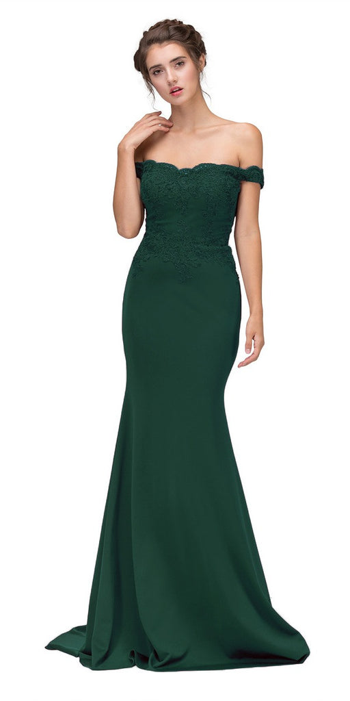 Eureka Fashion 7100 Lace Appliqued Bodice Long Formal Dress Off-Shoulder Hunter Green