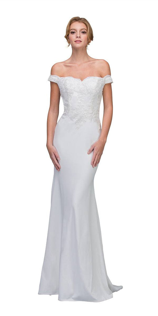 Lace Appliqued Bodice Long Formal Dress Off-Shoulder Off White
