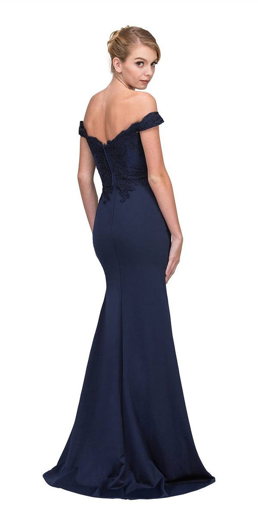 Lace Appliqued Bodice Long Formal Dress Off-Shoulder Navy Blue