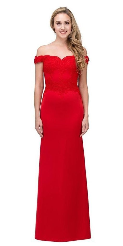 Eureka Fashion 7100 Lace Appliqued Bodice Long Formal Dress Off-Shoulder Red