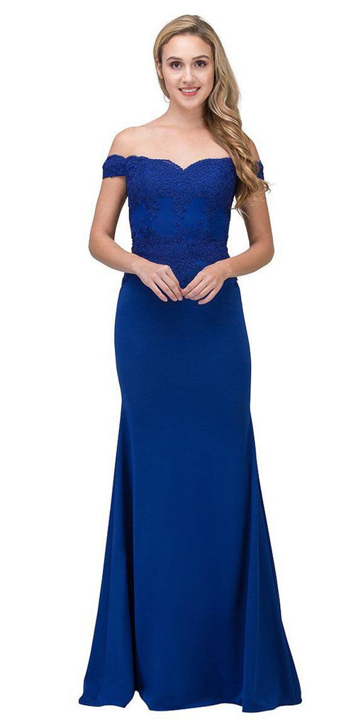 Eureka Fashion 7100 Lace Appliqued Bodice Long Formal Dress Off-Shoulder Royal Blue