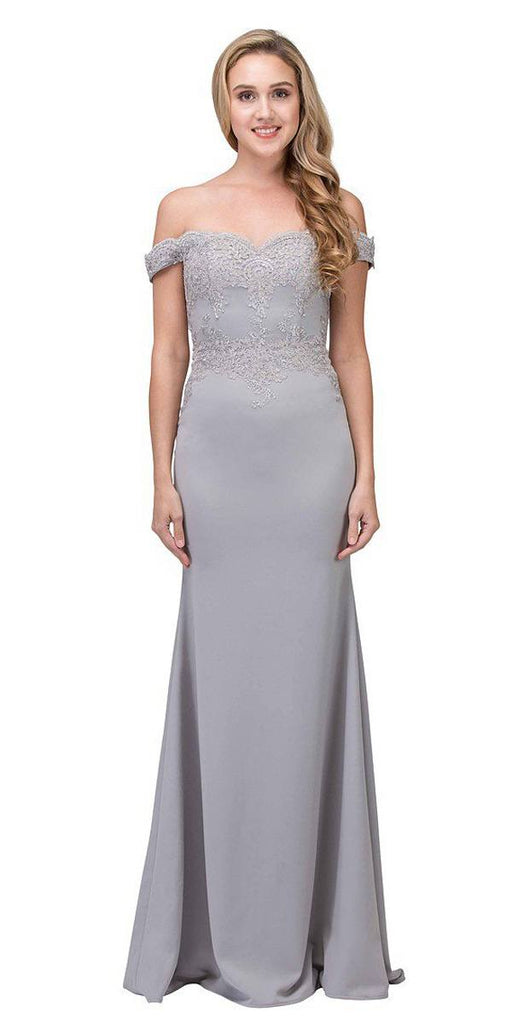 Eureka Fashion 7100 Lace Appliqued Bodice Long Formal Dress Off-Shoulder Silver