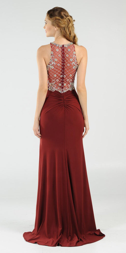 Poly USA 7102 Long Beaded Burgundy Formal Evening Gown High Neckline Back View
