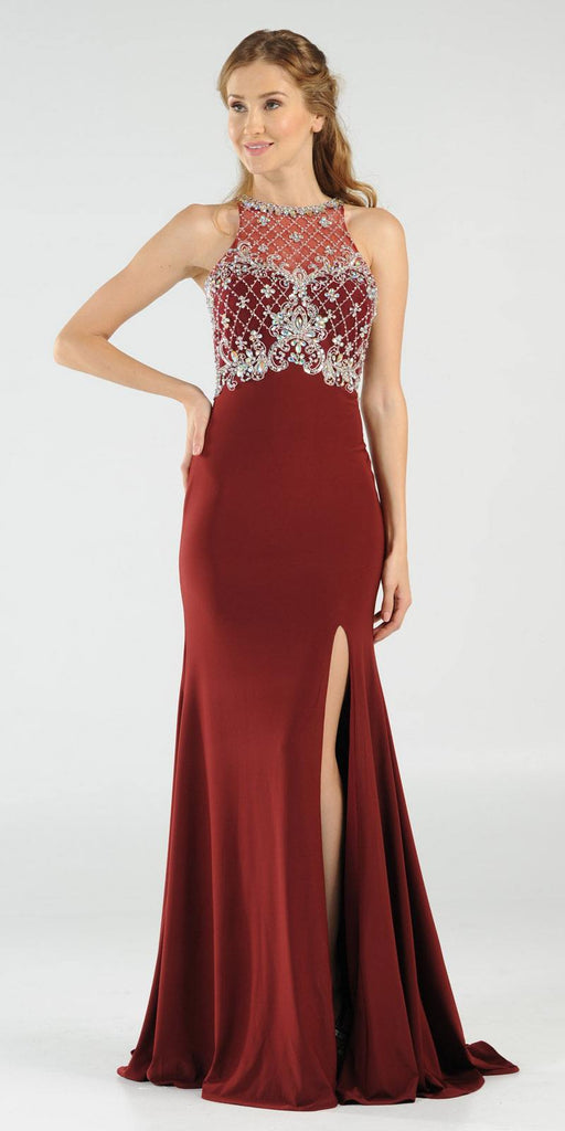 Poly USA 7102 Long Beaded Burgundy Formal Evening Gown High Neckline