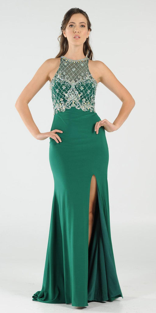 Poly USA 7102 Long Beaded Green Formal Evening Gown High Neckline