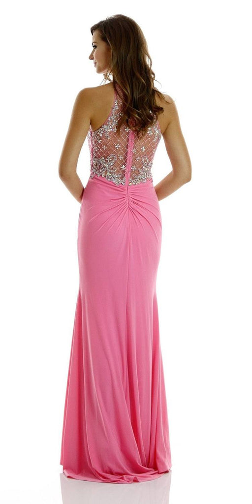 Poly USA 7102 Long Beaded Pink Formal Evening Gown High Neckline Back View