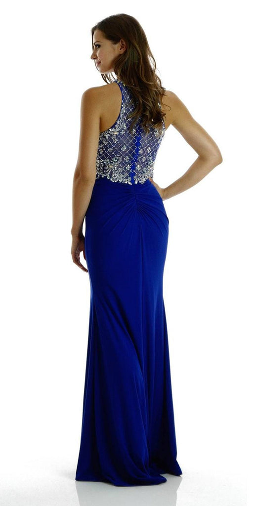 Poly USA 7102 Long Beaded Royal Blue Formal Evening Gown High Neckline Back View