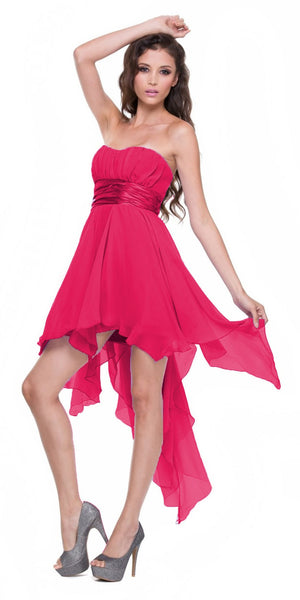 High Low Chiffon Fuchsia Bridesmaid Dress Strapless Layered Skirt