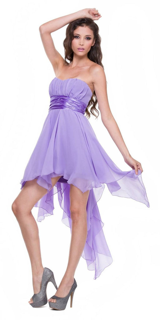 High Low Chiffon Lilac Bridesmaid Dress Strapless Layered Skirt