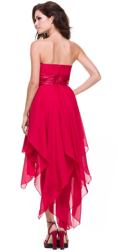 High Low Chiffon Red Bridesmaid Dress Strapless Layered Skirt Back