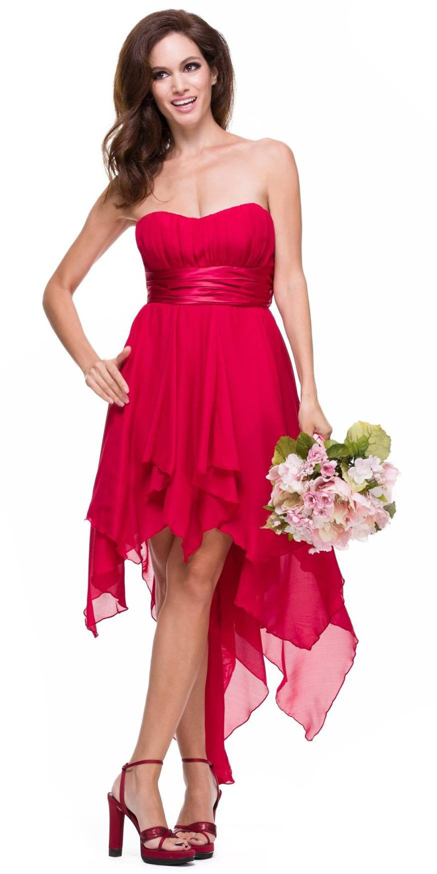 High Low Chiffon Red Bridesmaid Dress Strapless Layered Skirt